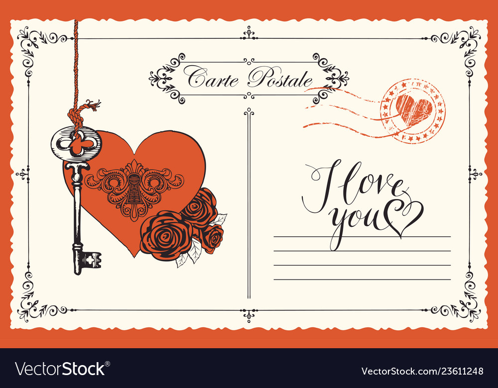 Vintage postcard the theme of declaration of love