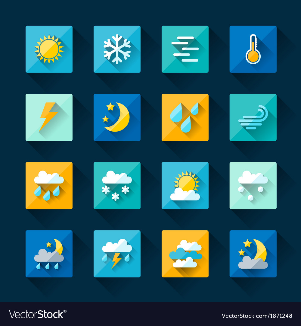 Weather icons set in flat design style