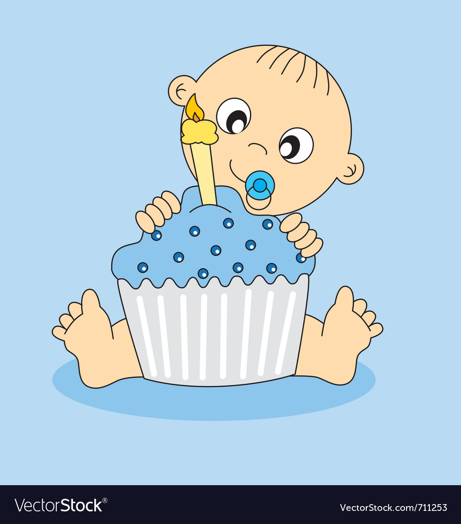 Fine Baby Boy Birthday Cake Royalty Free Vector Image Funny Birthday Cards Online Elaedamsfinfo