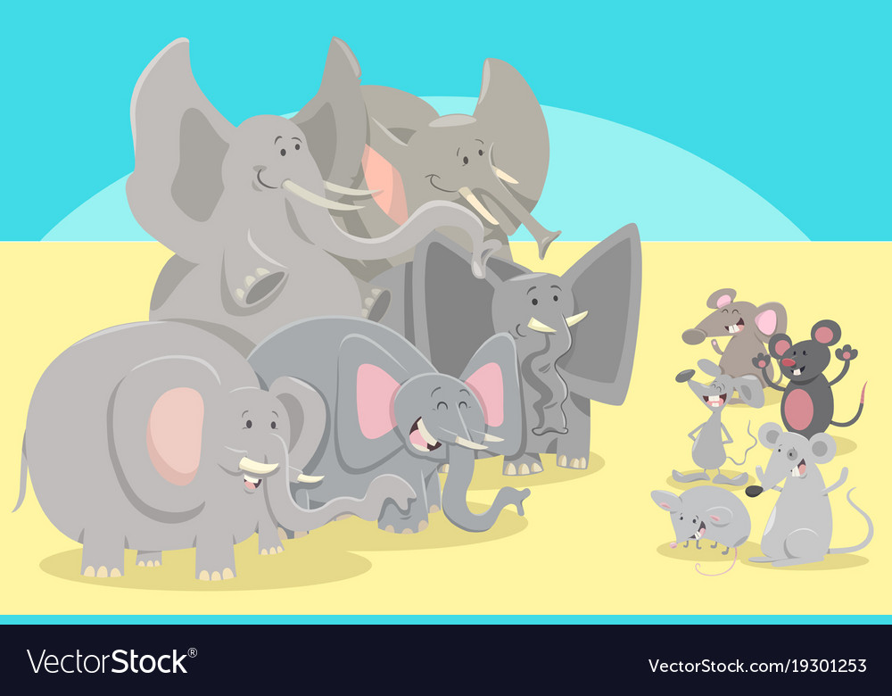 cartoon elephants and mice animal characters vector image