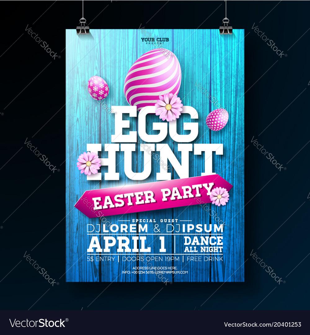 Egg hunt easter party flyer