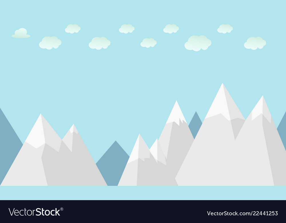 Flat winter mountains with clouds and sky
