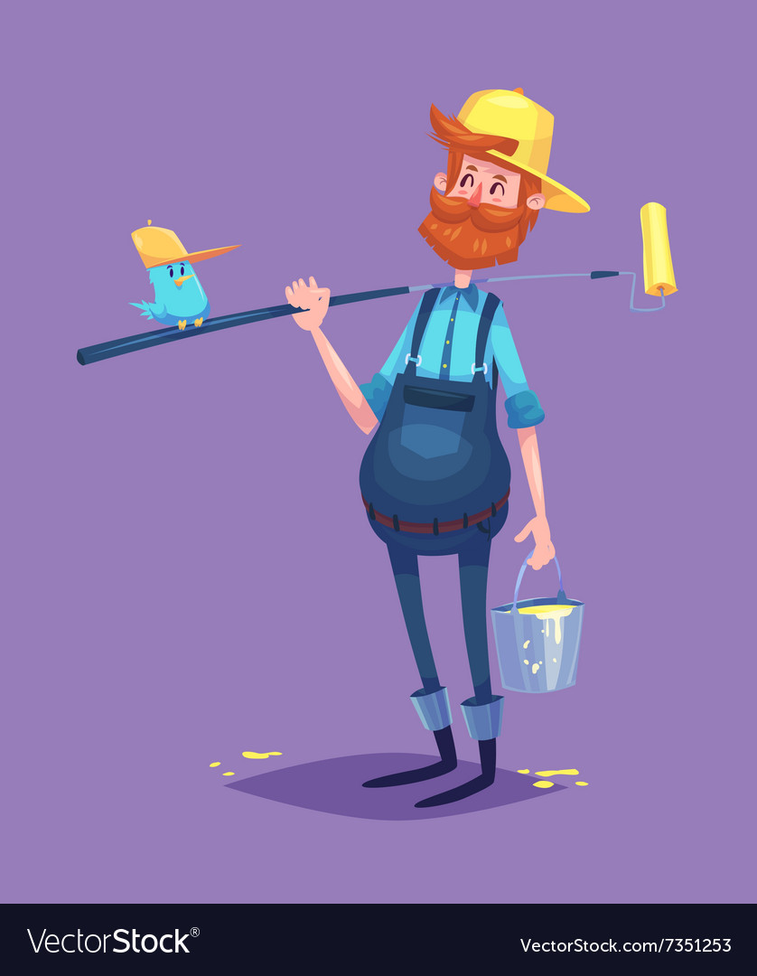 Funny of painter cartoon character