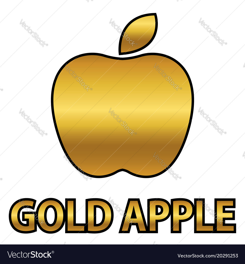 Golden Apple Symbol With Gold Text Royalty Free Vector Image