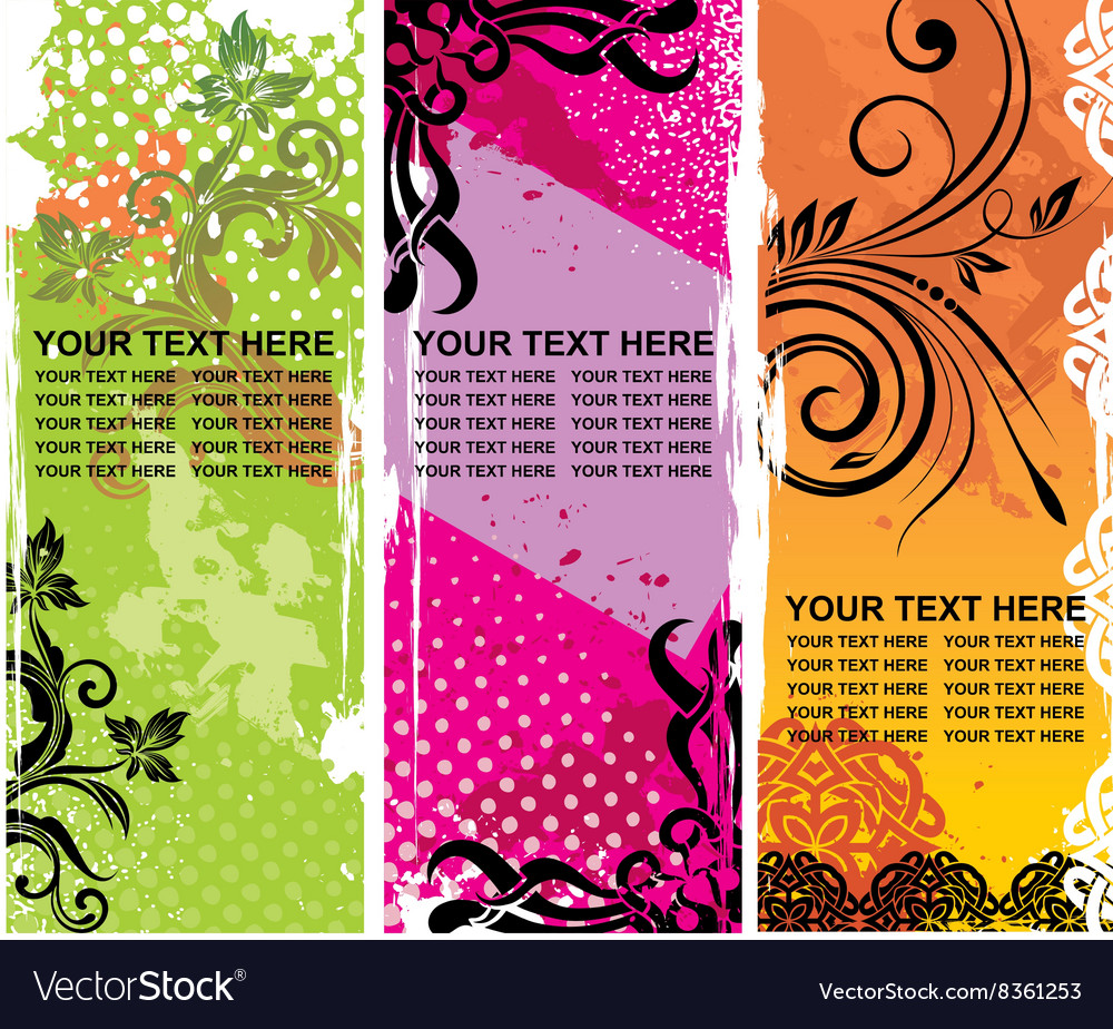 Grunge Floral Banners with Text Space Set
