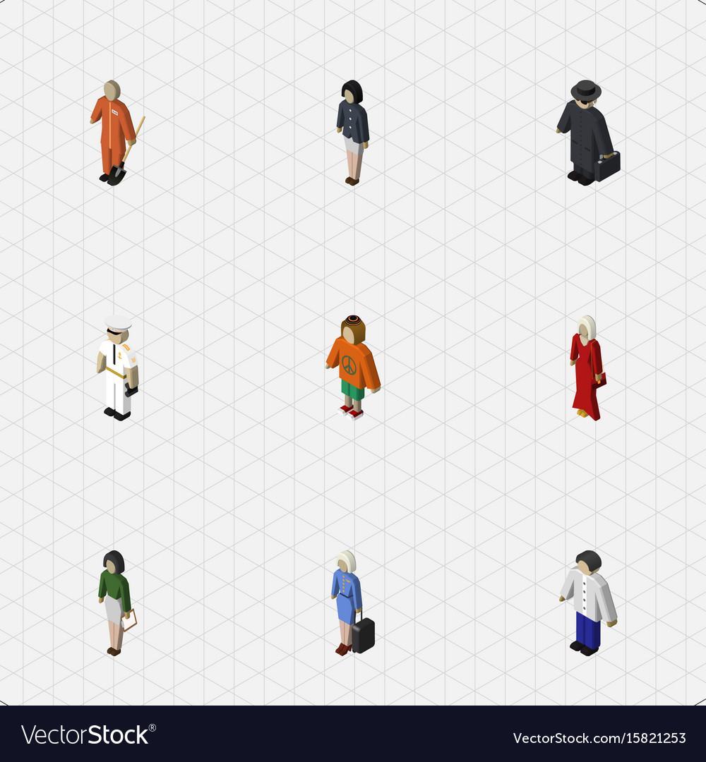 Isometric human set of girl pedagogue seaman and vector image