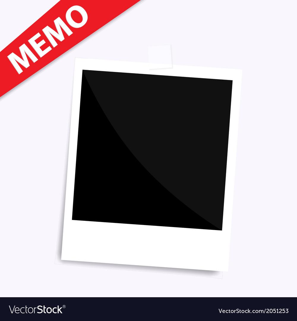 Memo polaroid photo on wall isolated