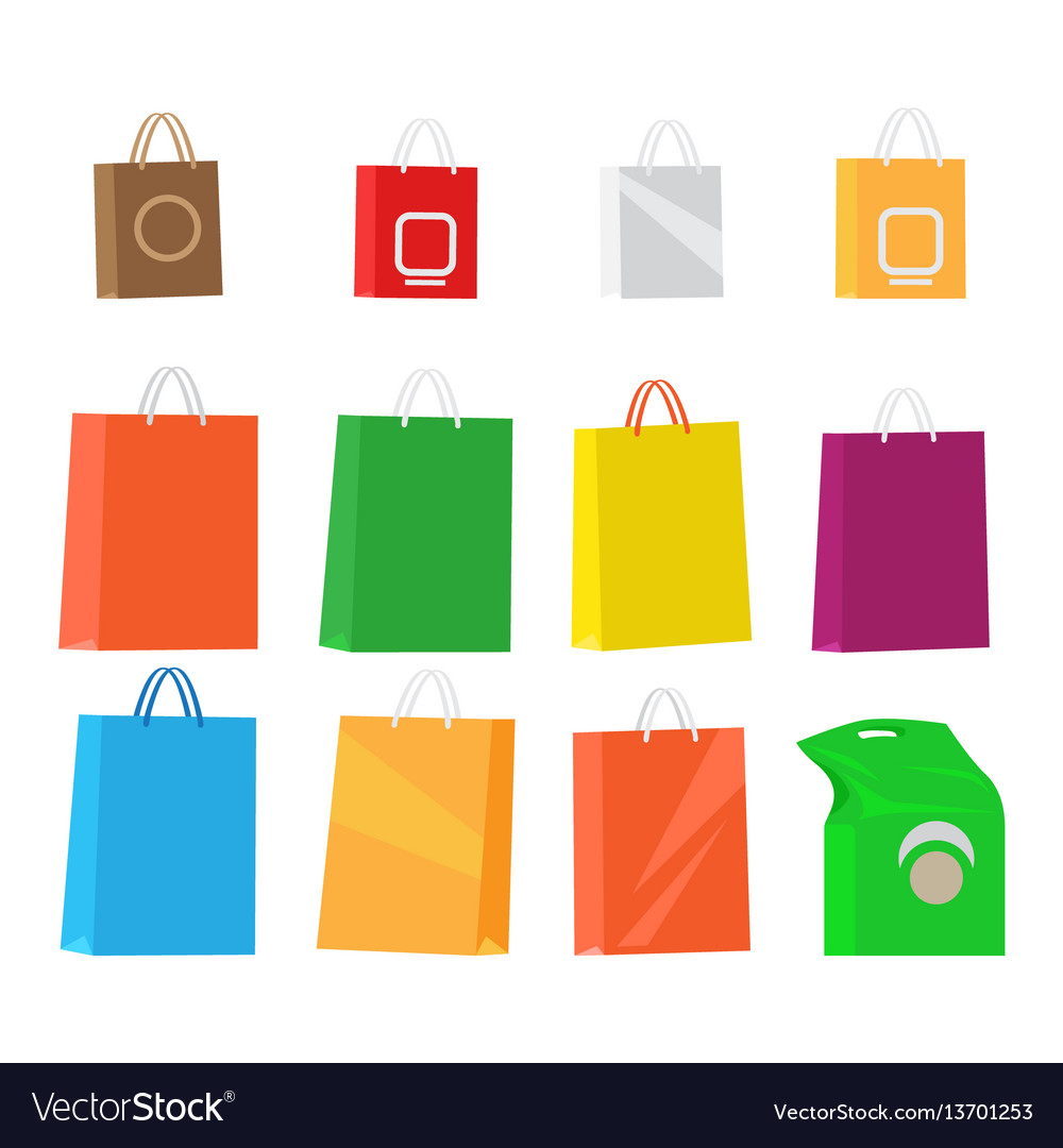 Paper packages for shopping collection on white