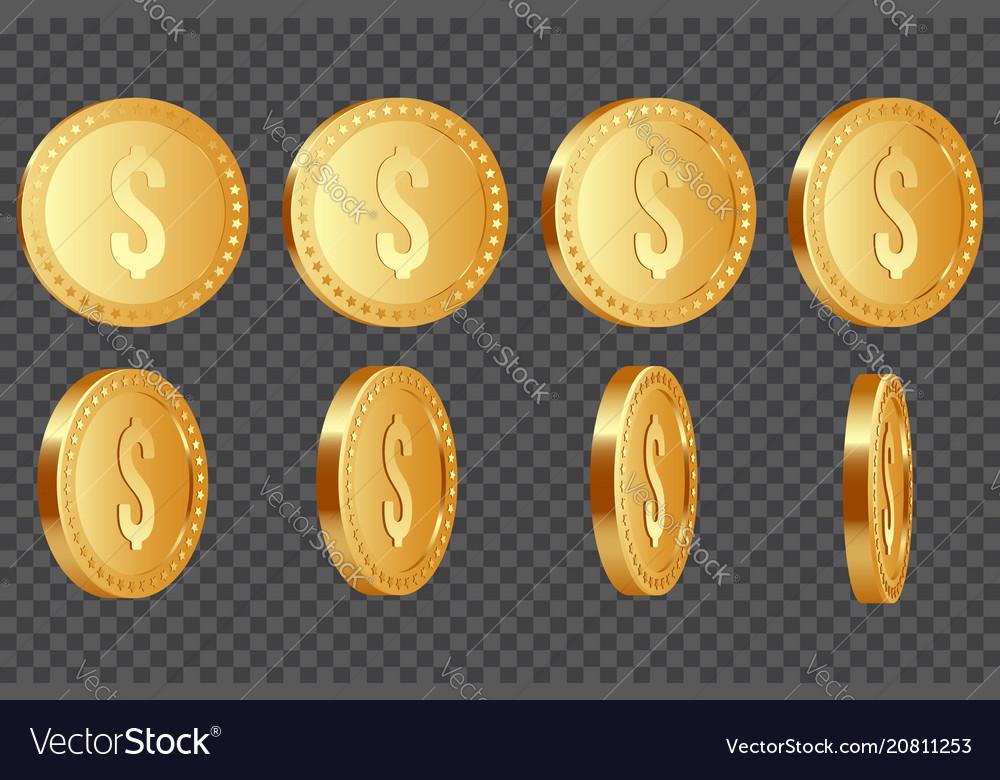 Set of 3d dollar coins