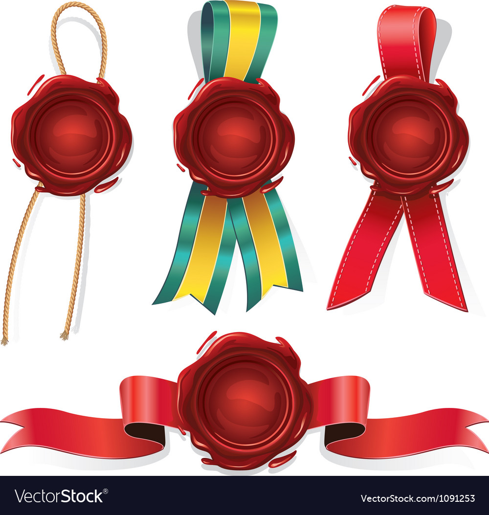 Set of red wax seals with ribbon and rope