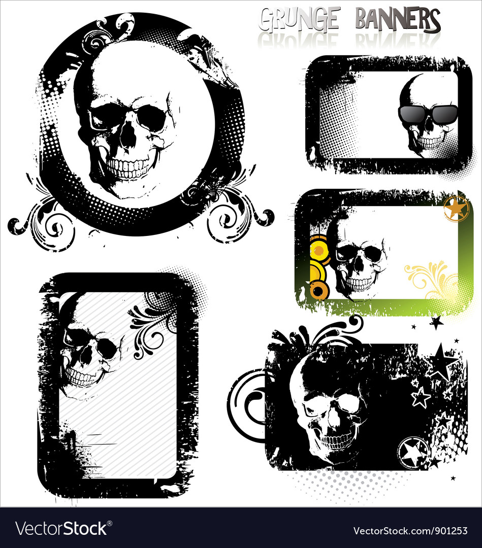 Skull grunge banner - set vector image