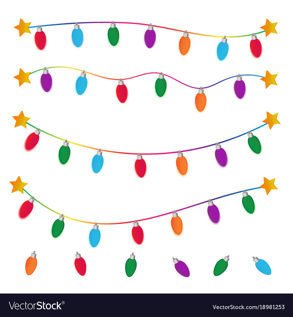 String of christmas lights on white background Vector Image