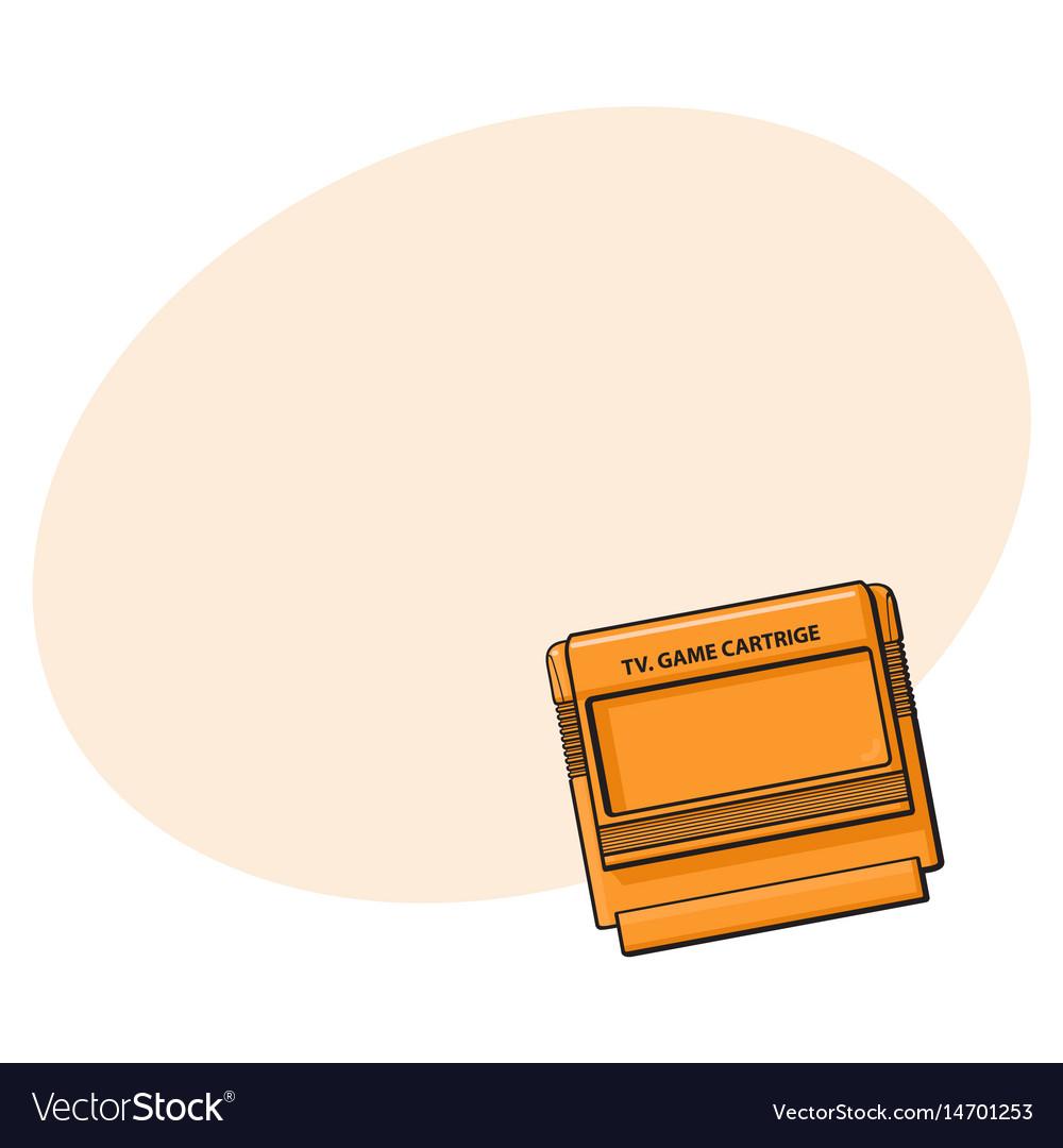 Tv game cartridge in plastic orange case from 90s