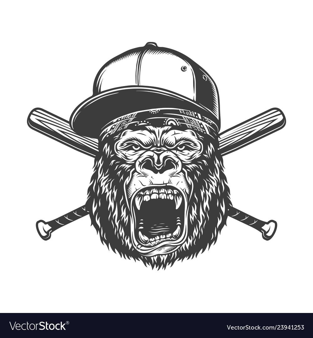 Vintage monochrome ferocious gorilla head