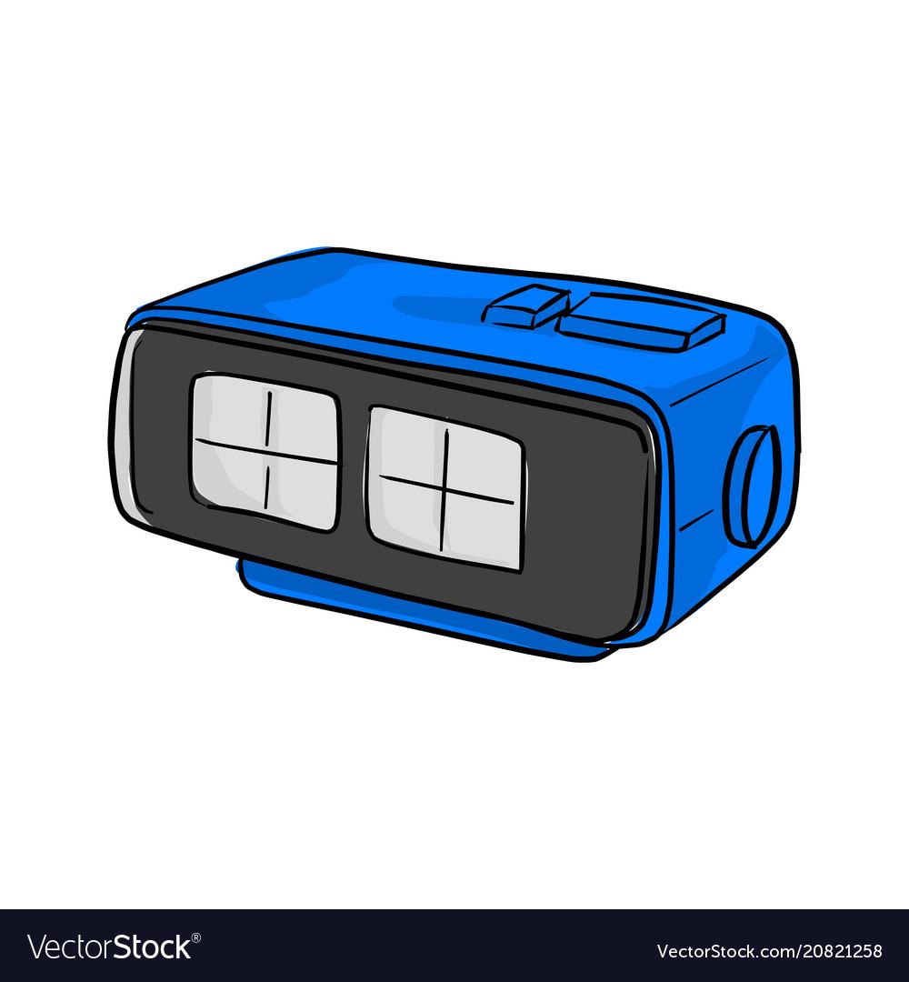 Blue retro numeric alarm clock vector image