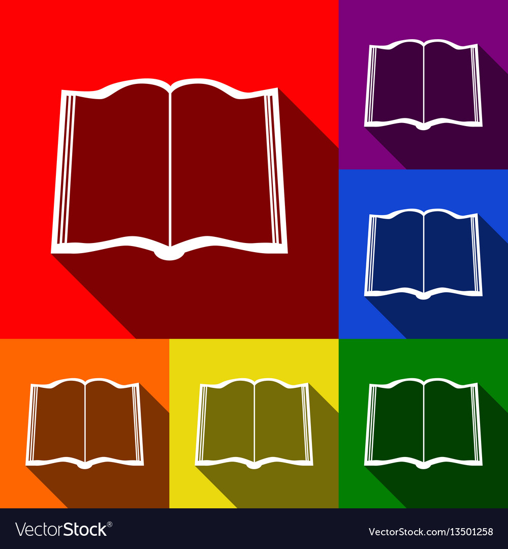 Book sign set of icons with flat shadows
