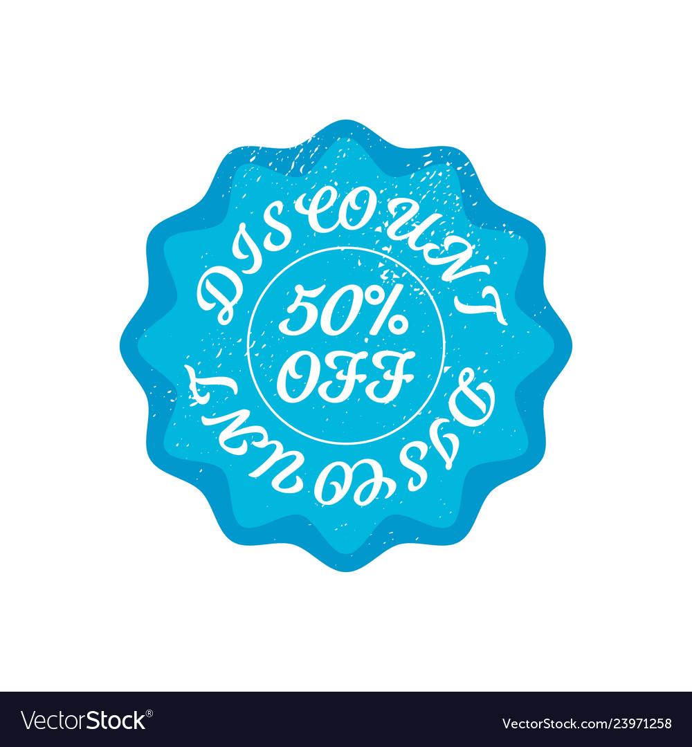 Bright blue retro 50 percent discount badge sign