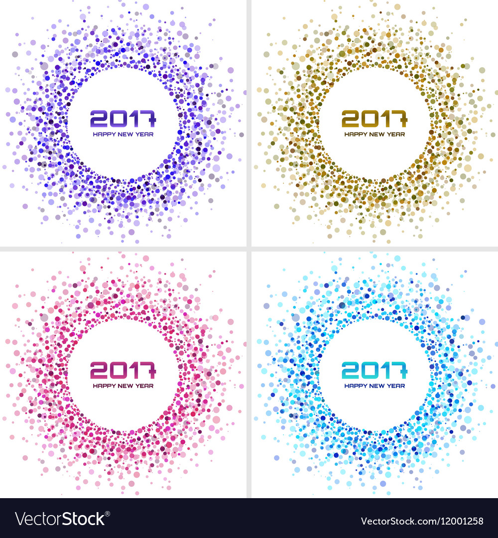 Bright Colorful New Year circle frames Backgrounds