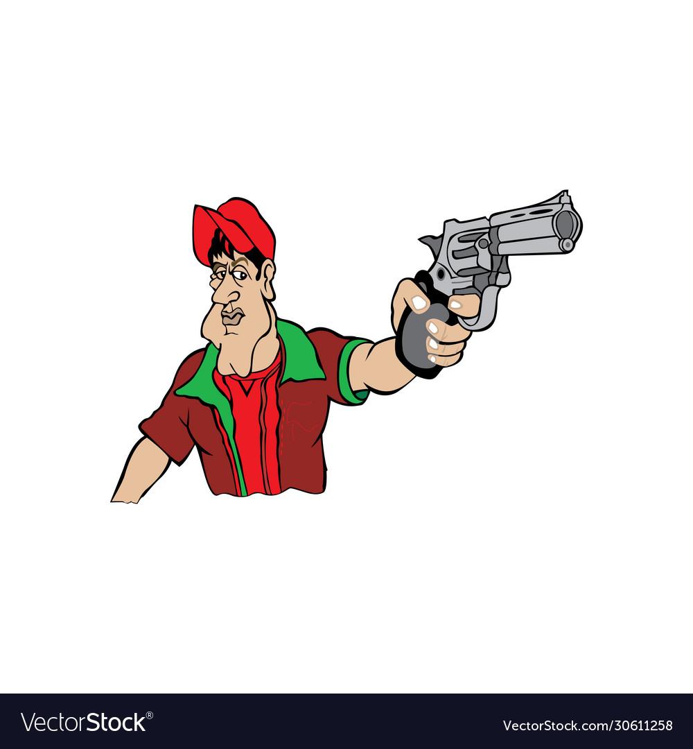 Cartoon a man holding gun in hand