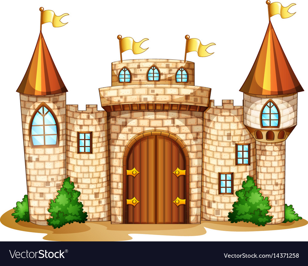 Castle Towers With Yellow Flags Royalty Free Vector Image