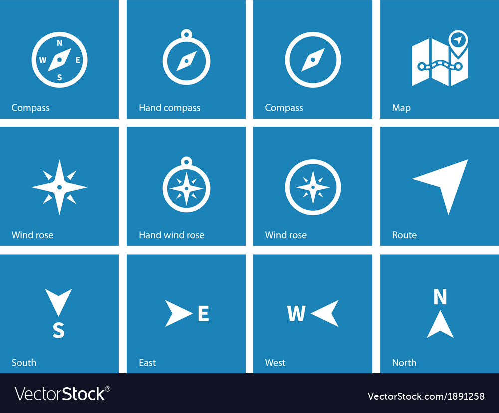 Compass icons on blue background