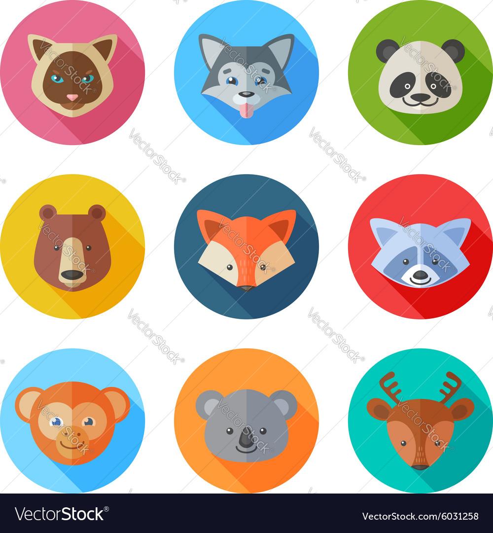Cute flat animals portraits icons