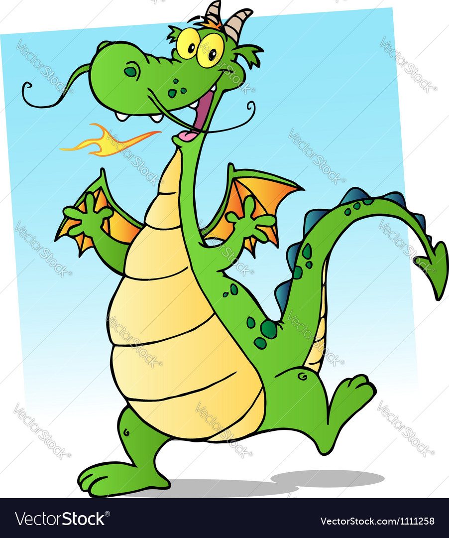 Happy Smiling Dragon Cartoon Character