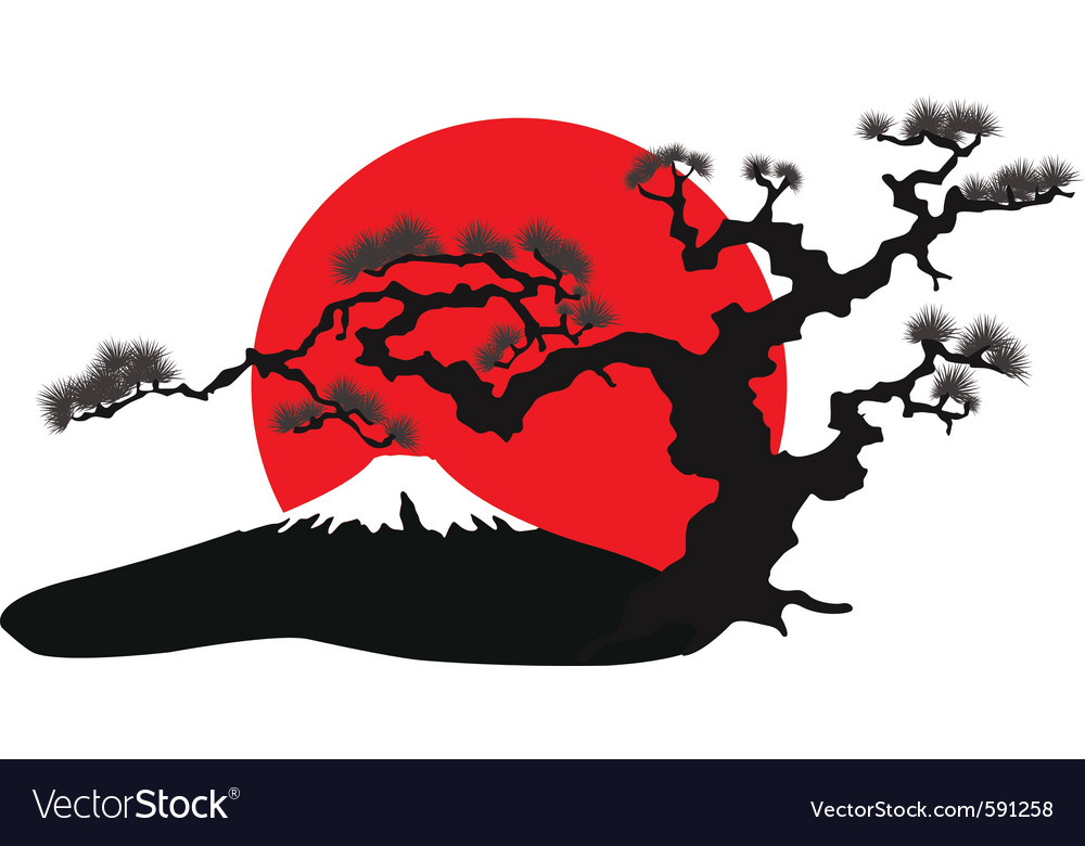 Japanese landscape silhouette Royalty Free Vector Image