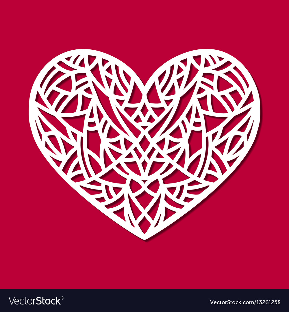 Laser cut heart ornament cutout pattern