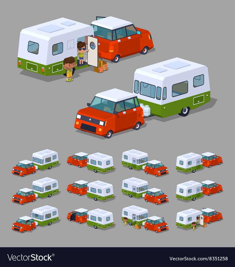 Low poly red hatchback with green-white motor home vector image
