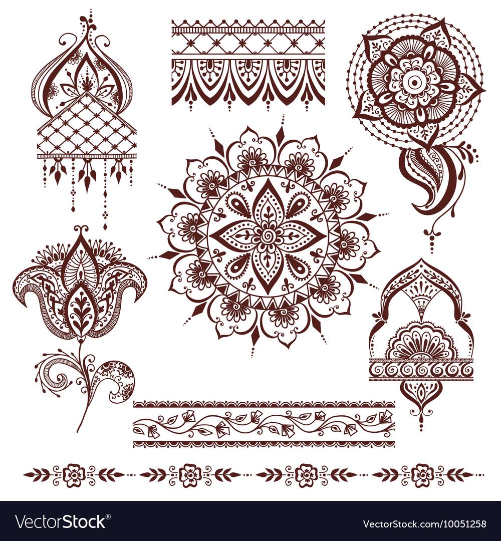 Mandala pattern set vector image