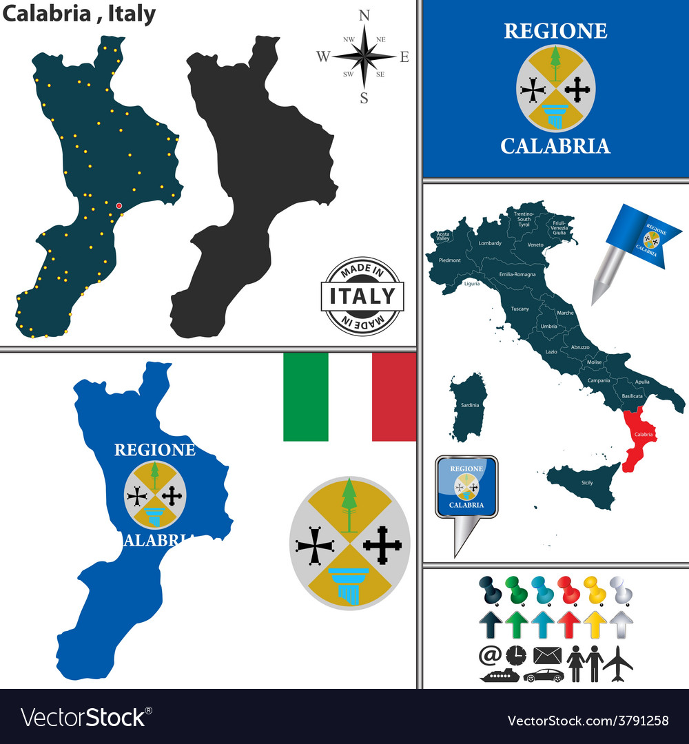 Map Of Italy Calabria Region.Map Of Calabria Royalty Free Vector Image Vectorstock