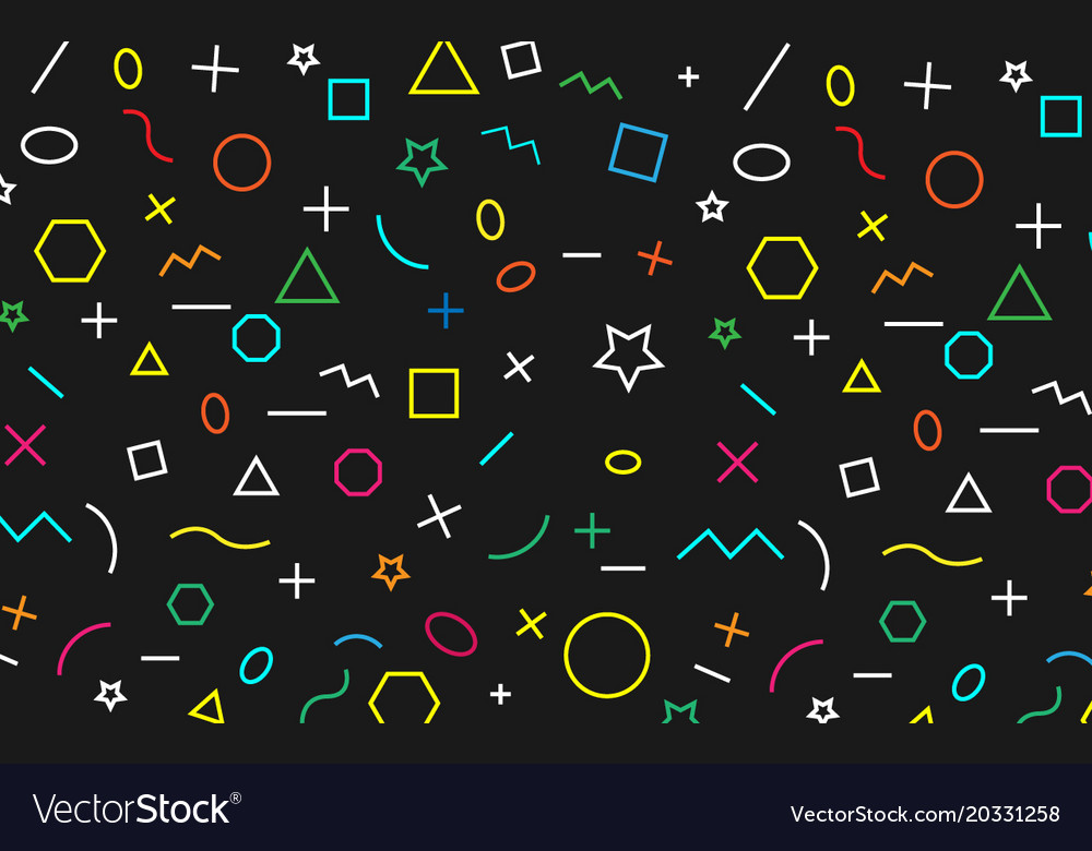 Math pattern on black background color symbol vector image