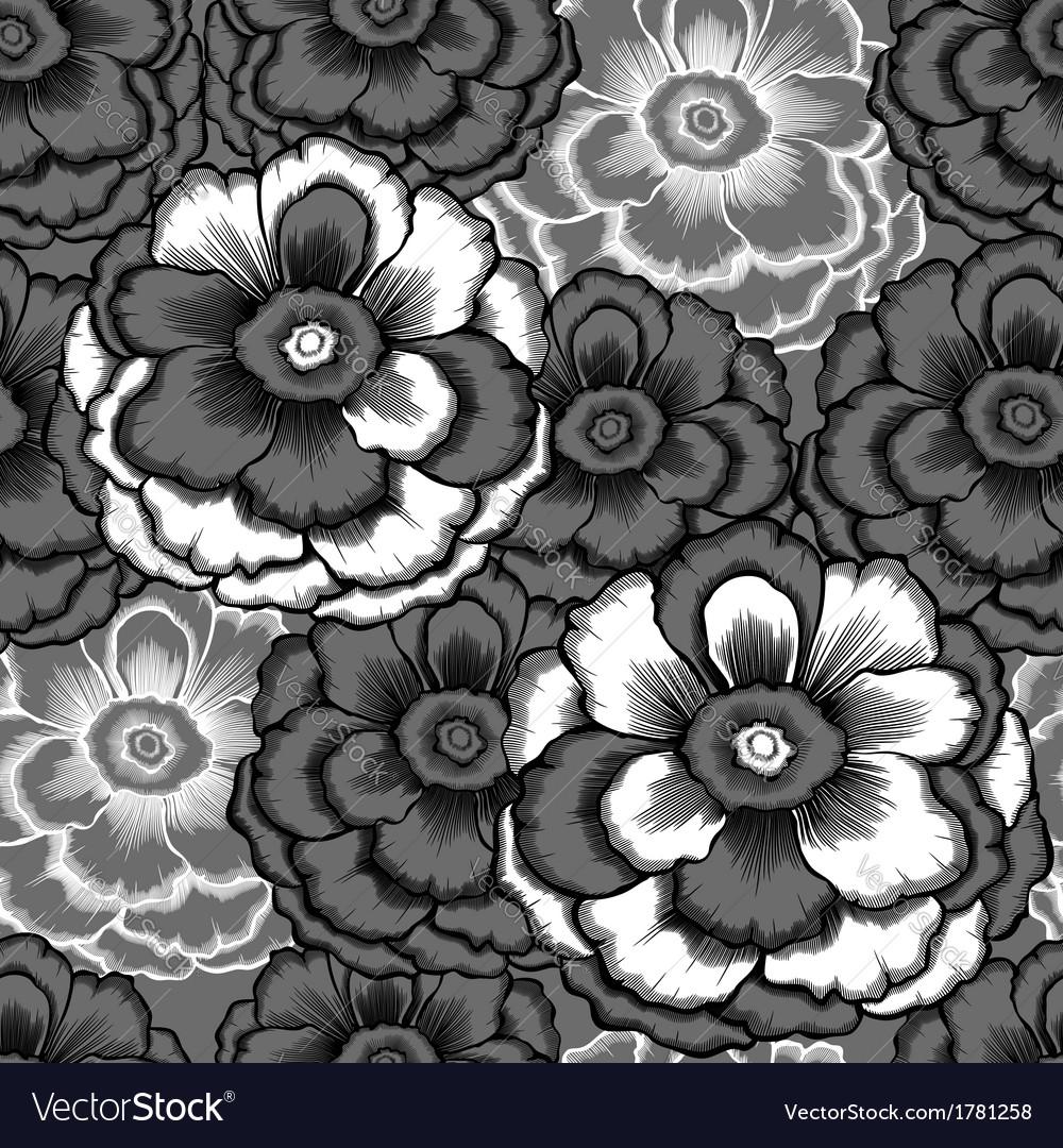 Monochrome seamless pattern with decorative peony