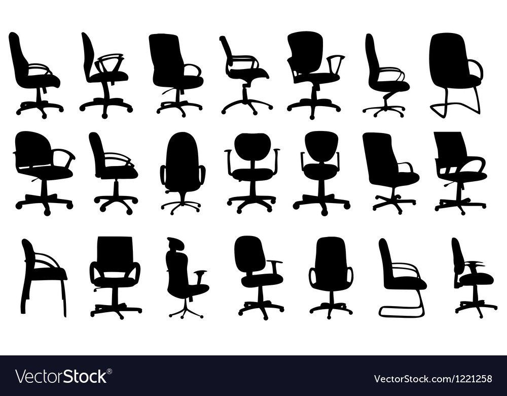 Office Chairs Silhouettes Vector Image