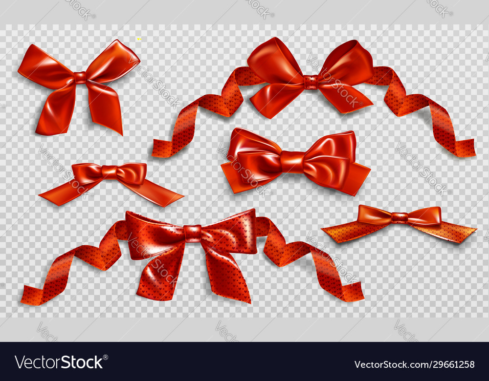 Red bows with curly ribbons and heart pattern set