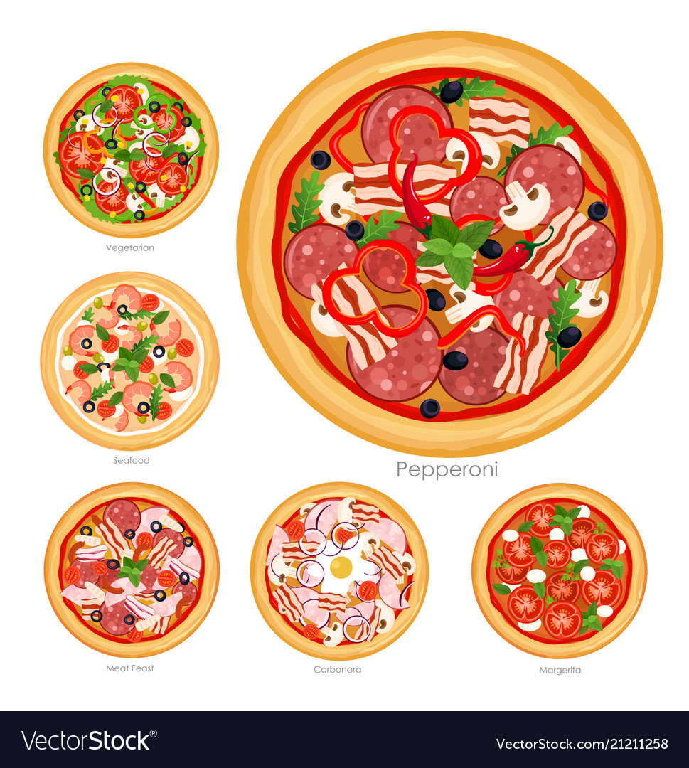 Set of pizza with different