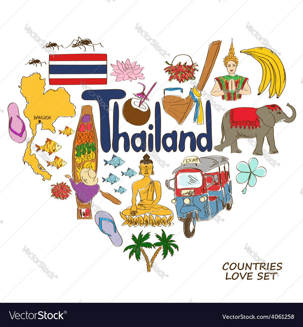 Thailand symbols in heart shape concept