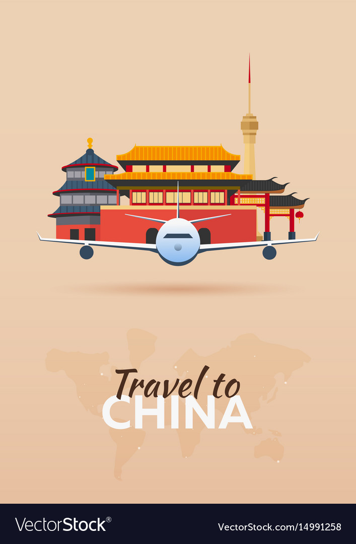 Travel to china airplane with attractions travel