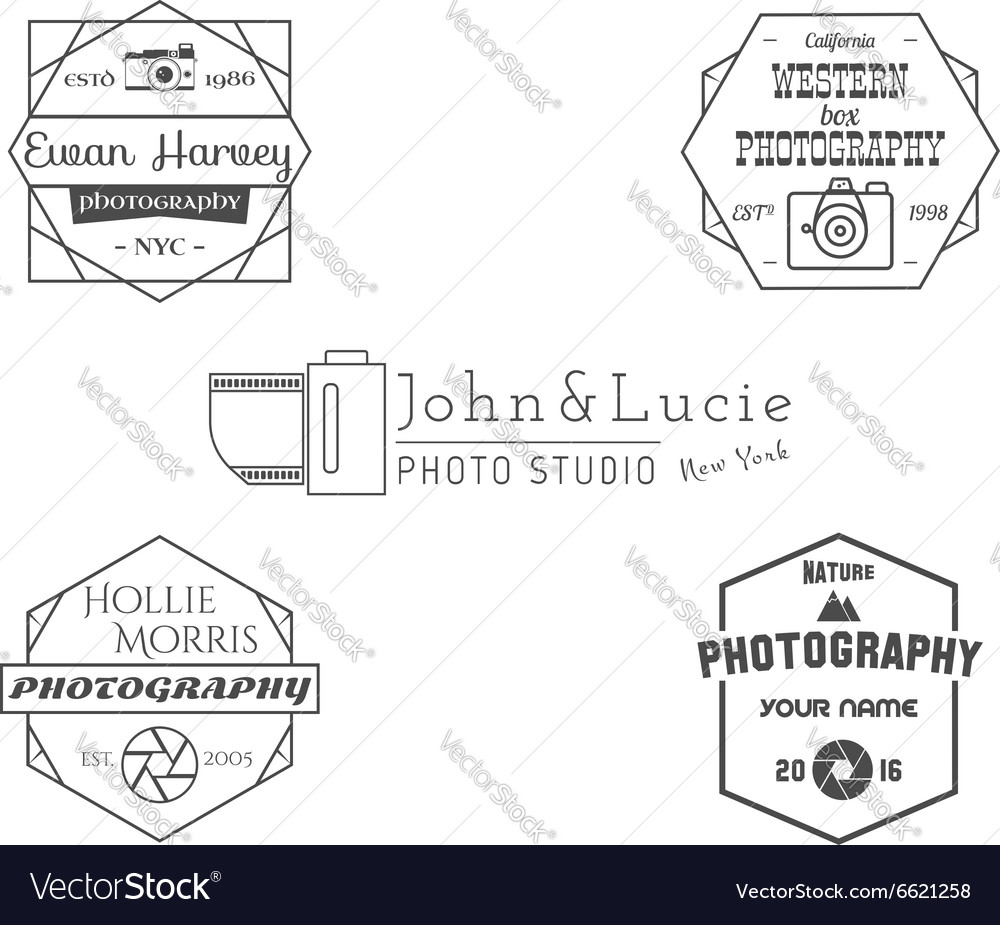 Vintage Photography Badges Labels Monochrome