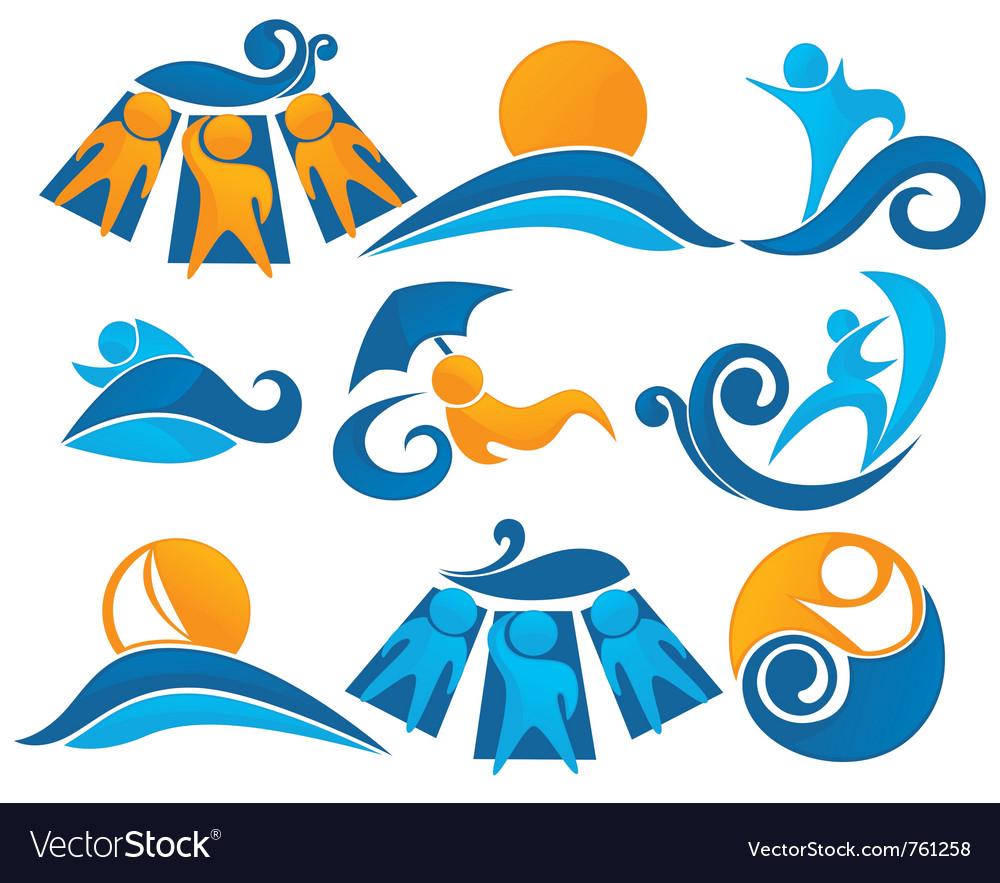 Wave surf sunbathing vector image