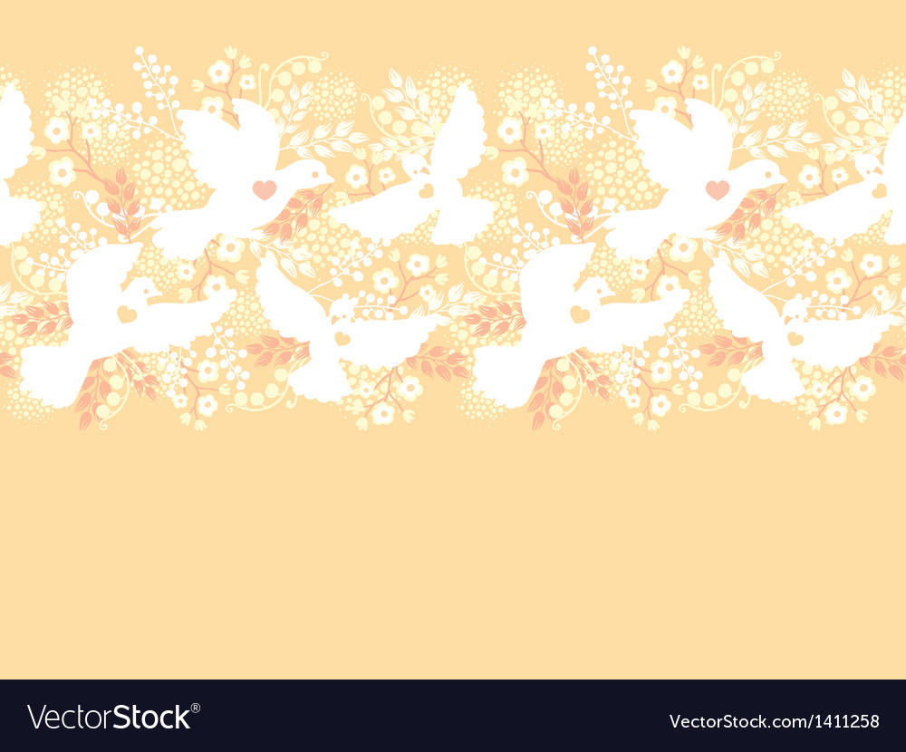Wedding doves among flowers horizontal seamless