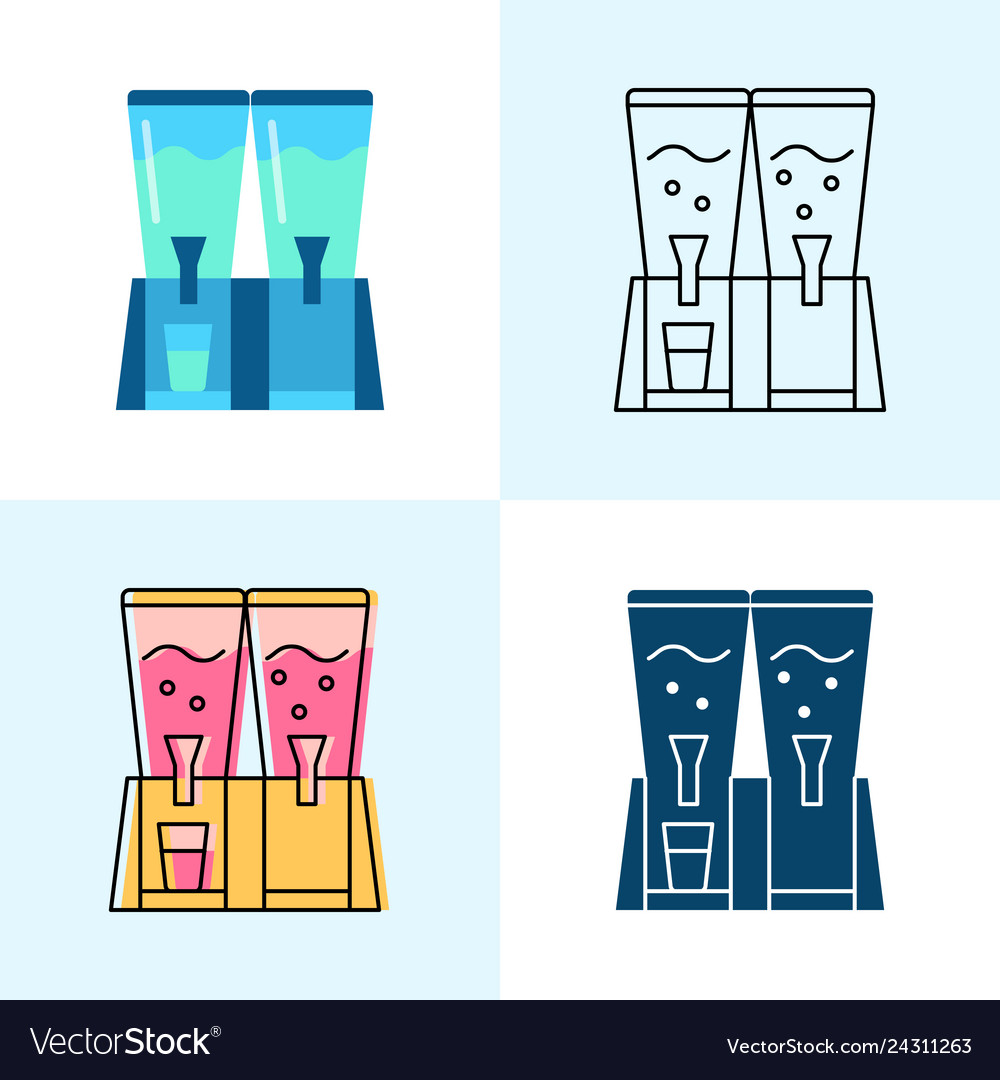 Beverage dispenser icon set in flat and line style