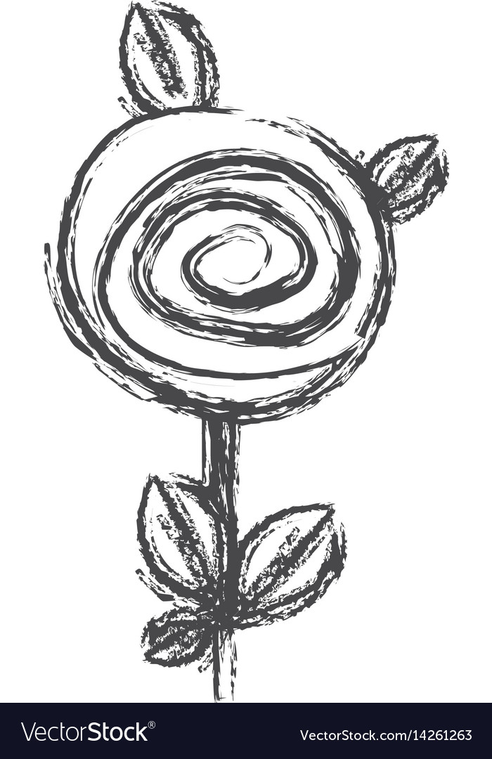 Blurred silhouette sketch rose with leaves and