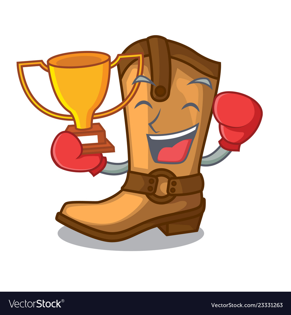 Boxing winner leather cowboy boots shape cartoon