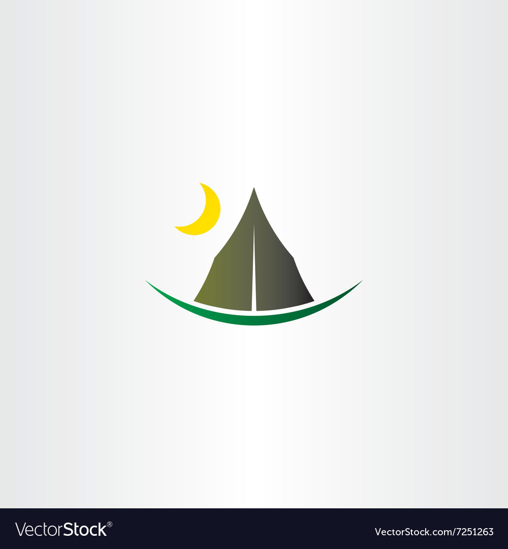 Camping tent and moon icon