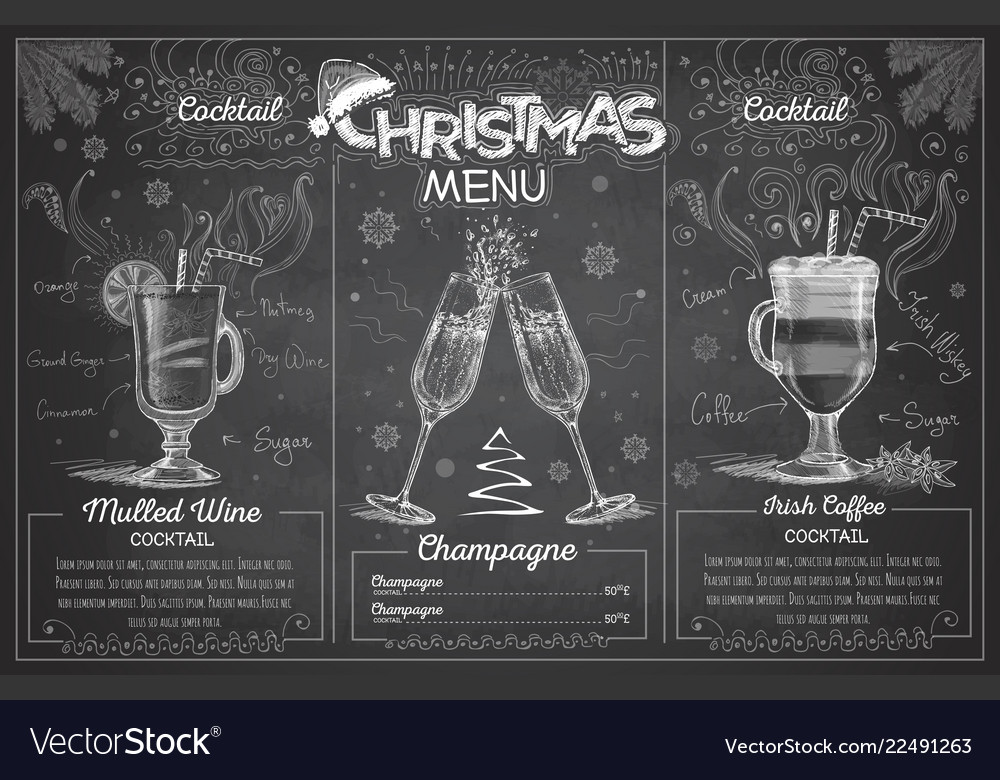 Chalk drawing christmas menu design with champagne