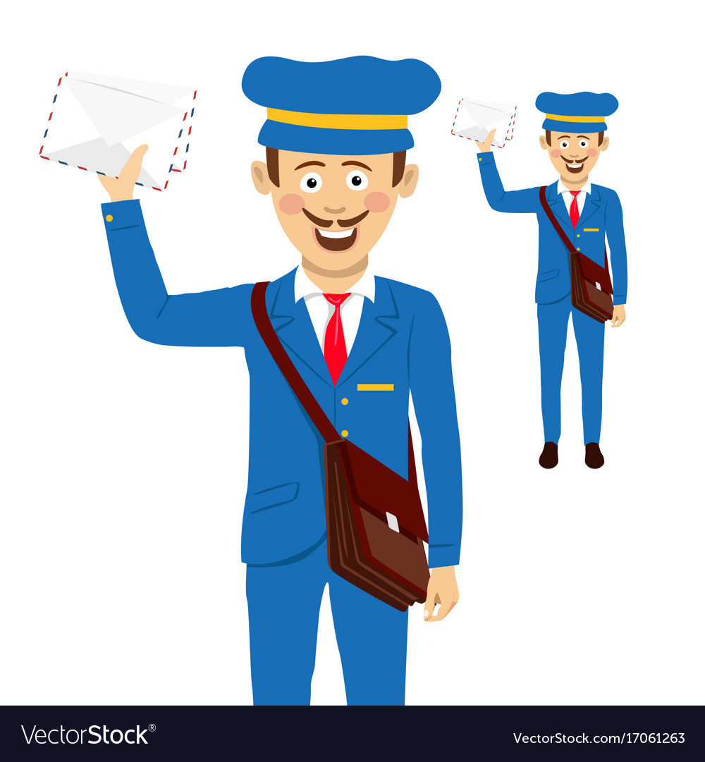 Cheerful postman with bag and letters