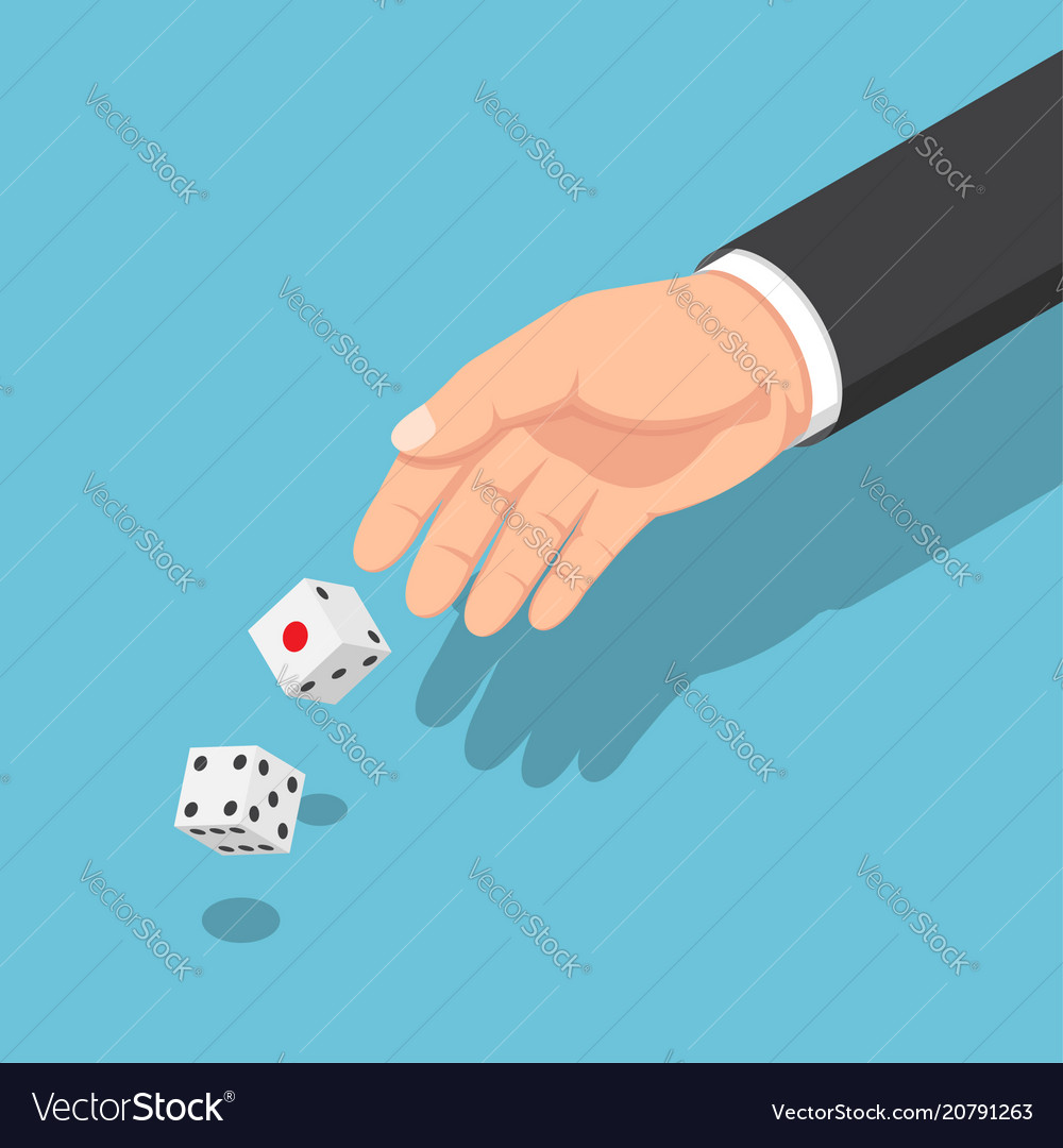 Isometric businessman hands throwing dice