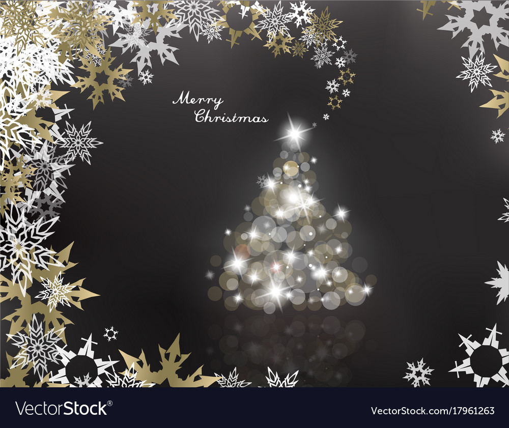lighted up christmas tree with many lens flares vector image